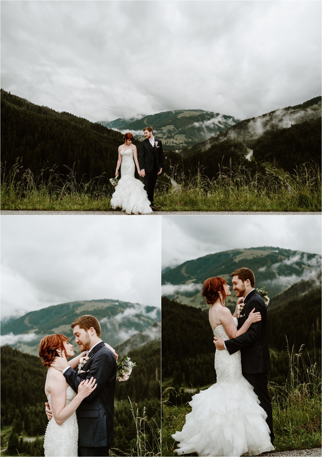 Moody clouds and dark skies for Emma & Adam's mountain wedding at the Rössl Alm in GErlos Austria. Photos by Wild Connections Photography