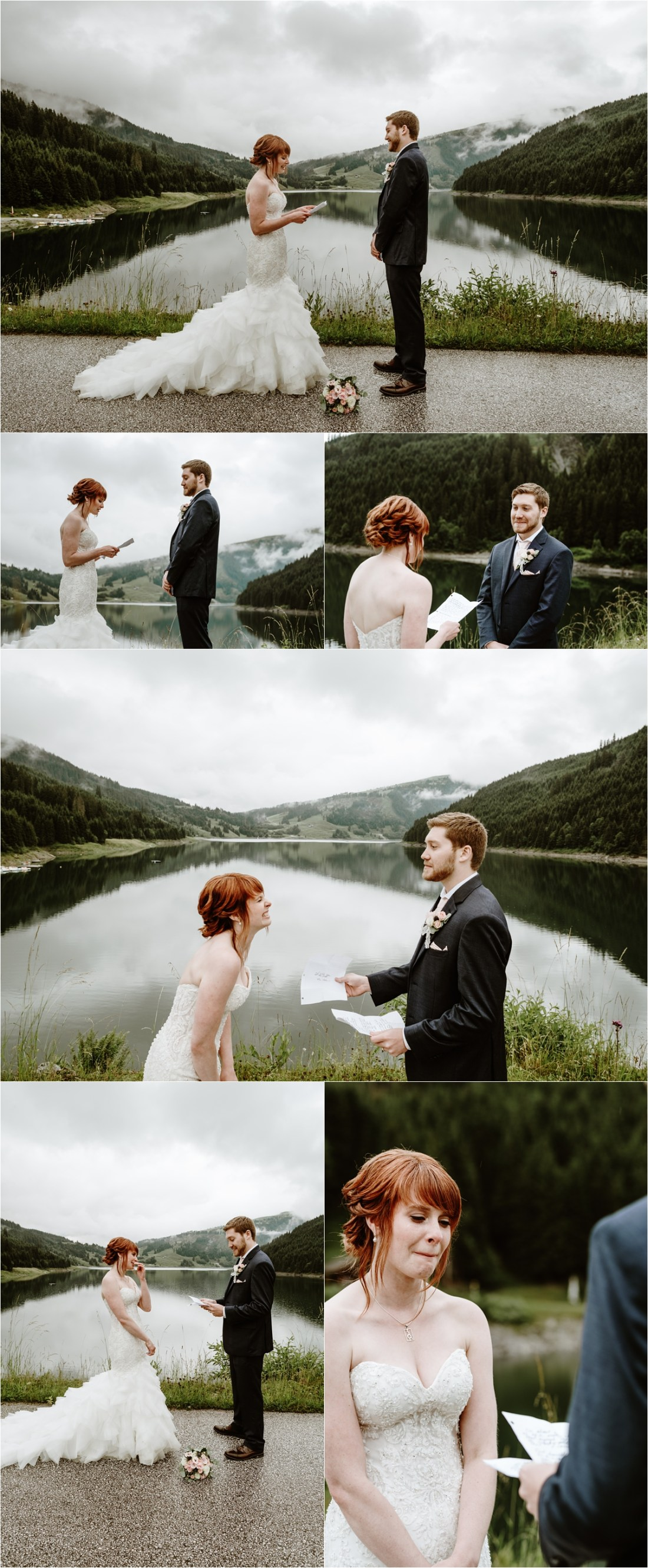 Emma & Adam read their wedding vows to one another in the Austrian Alps in Gerlos. Photos by Wild Connections Photography