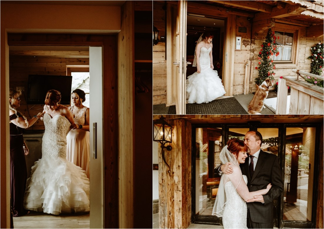 Bridal preparations in a mountain chalet in Gerlos, Austria. Photos by Wild Connections Photography