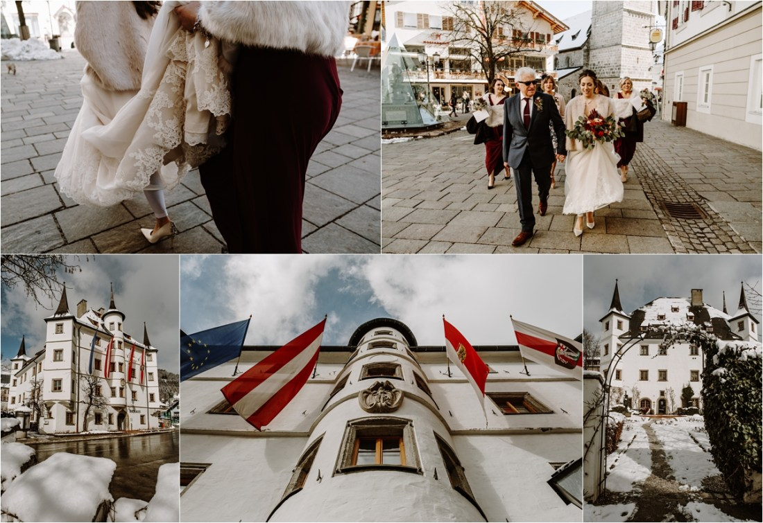 The bride arrives for her spring wedding in Zell am See Rathaus by Wild Connections Photography