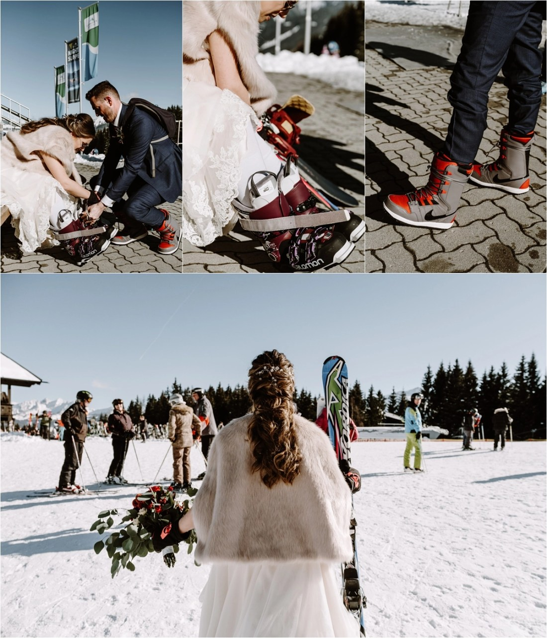 Gerry-Rae & Nick get ready to hit the pistes of Zell Am See after their wedding ceremony by Wild Connections Photography