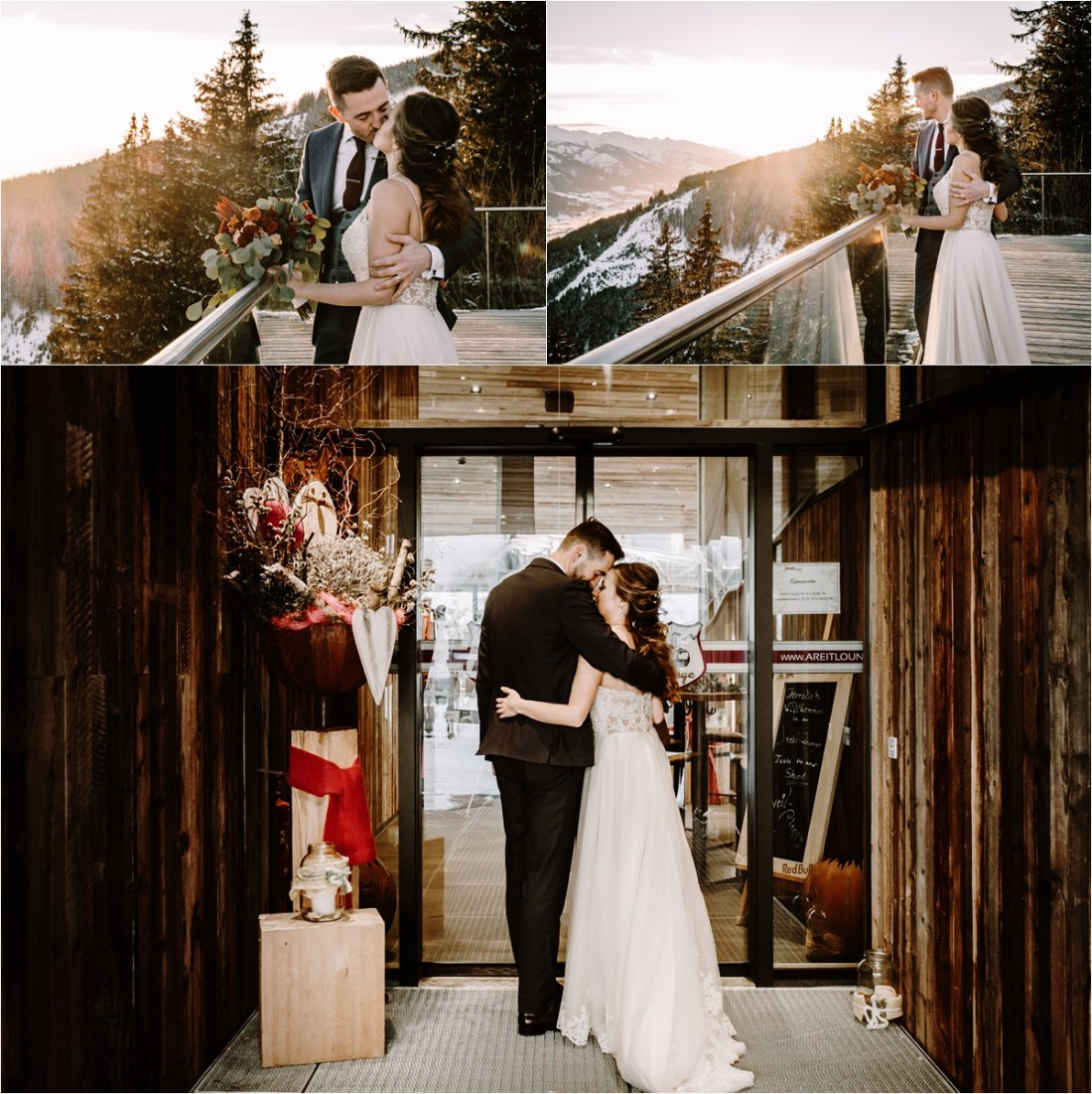 Gerry-Rae & Nick enjoy a mountain sunset at the Areit Lounge on their wedding day in Zell Am See by Wild Connections Photography