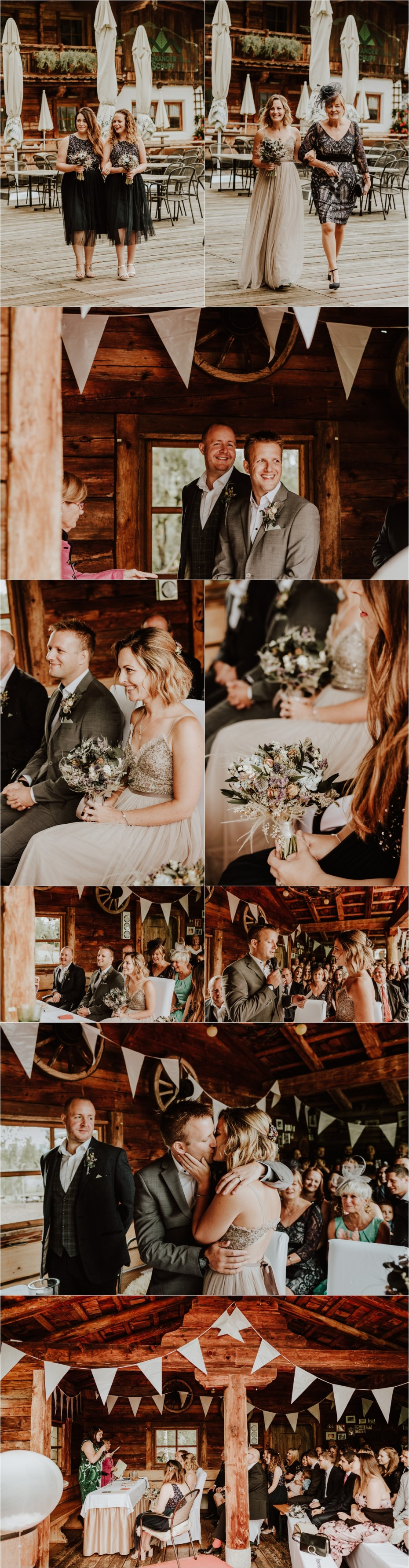 A wedding ceremony in the Austrian Alps at Berg Gasthaus Grander Schupf by Austria wedding photographer Wild Connections Photography