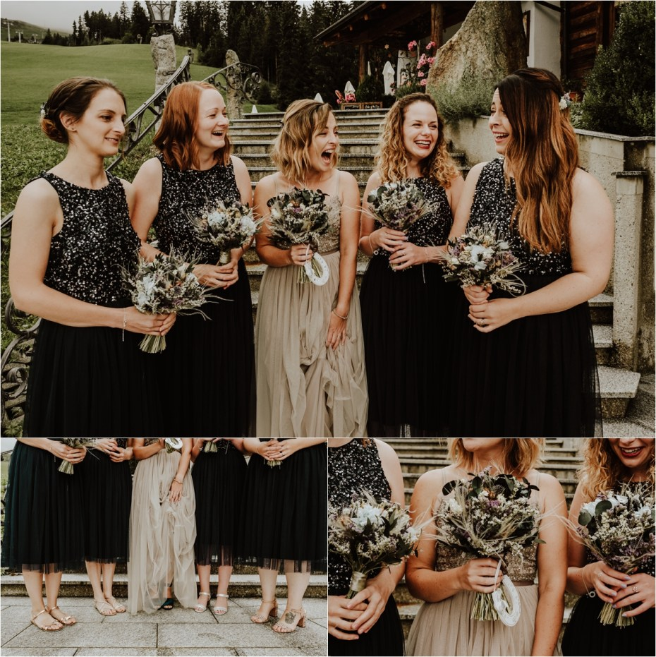 The bride and bridesmaids in Needle & Thread dresses in Austria by Wild Connections Photography