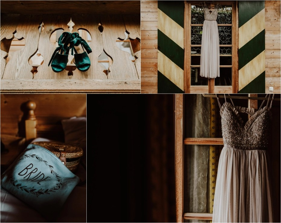 Bohemian bridal details and a needle and thread dress for a mountain wedding in Austria by Wild Connections Photography