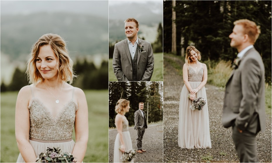 Portraits of Alice & Dom, the bride and groom surrounded by views of the Austrian Alps by Wild Connections Photography
