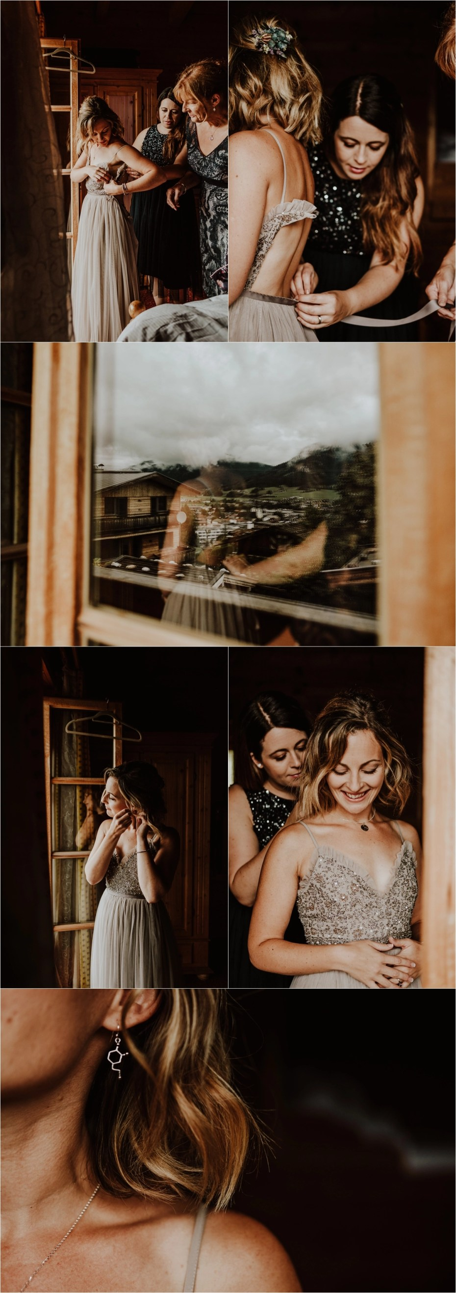 The bride gets dressed in her Needle & Thread wedding dress for her mountain wedding in Austria by Wild Connections Photography