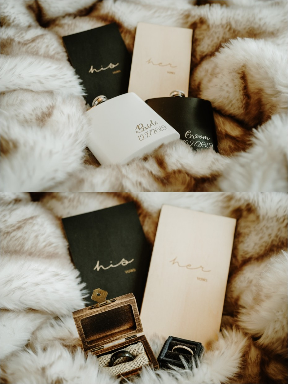 Wooden wedding vow books and personalised hip flasks. Photos by Wild Connections Photography