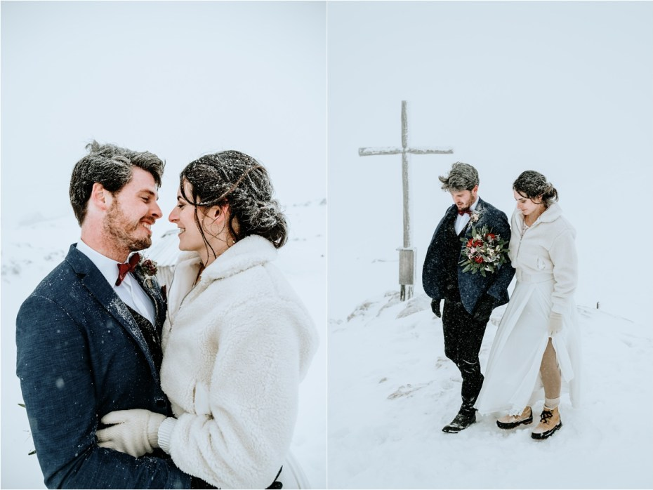 Anna & Jon explore the winter landscape of the Krippenstein mountain on their wedding day. Photos by Wild Connections Photography