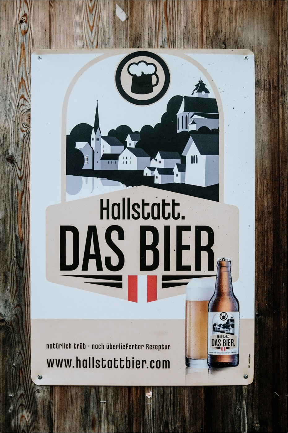 Sign for Hallstatt beer. Photos by Wild Connections Photography