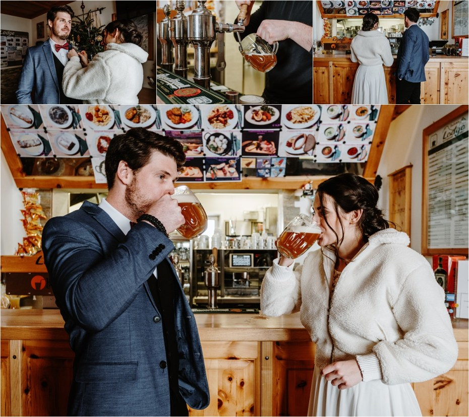 The bride and groom order a beer before their wedding ceremony. Photos by Wild Connections Photography
