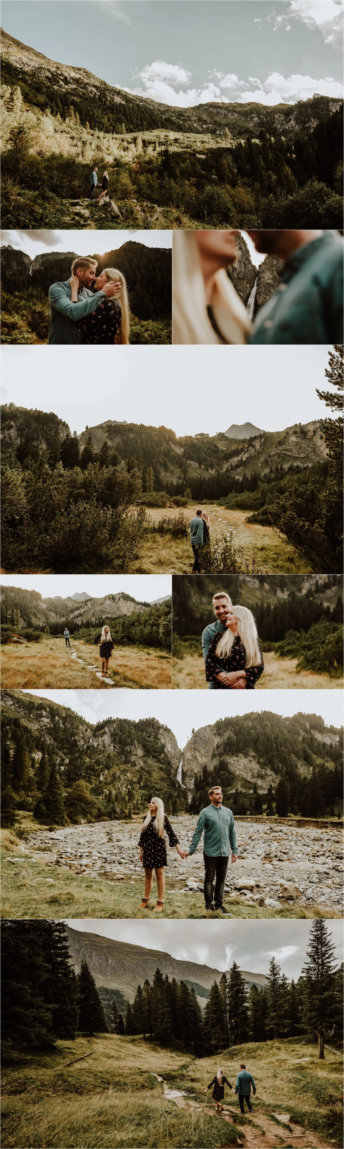 An adventure session in Hintertux engagement shoot at a waterfall by Wild Connections Photography