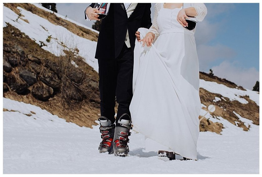 Adventure wedding honeymoon shoot on skis by Wild Connections Photography