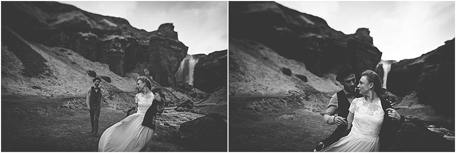 Bride and groom by a waterfall in Iceland - Iceland Wedding Photographer