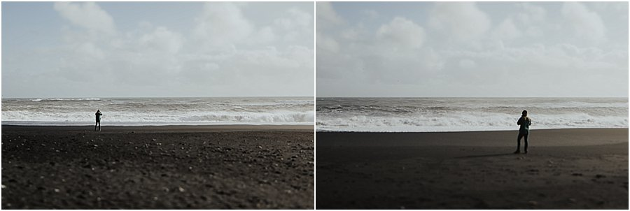 Man standing on the black beach in Iceland