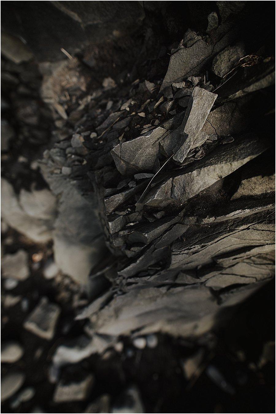Close up of black rocks