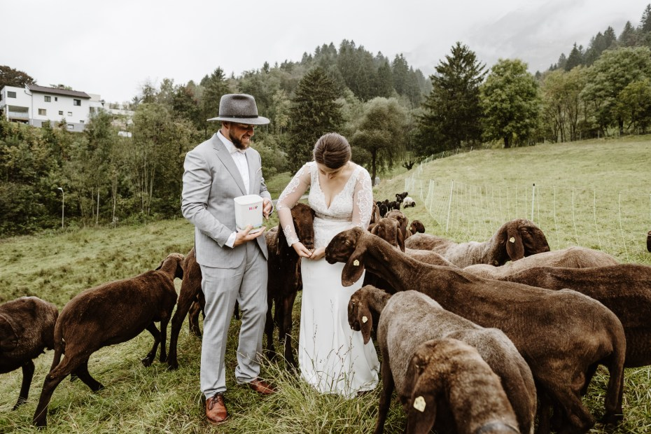 Mountain wedding with sheep in the Austrian Alps by Wild Connections Photography