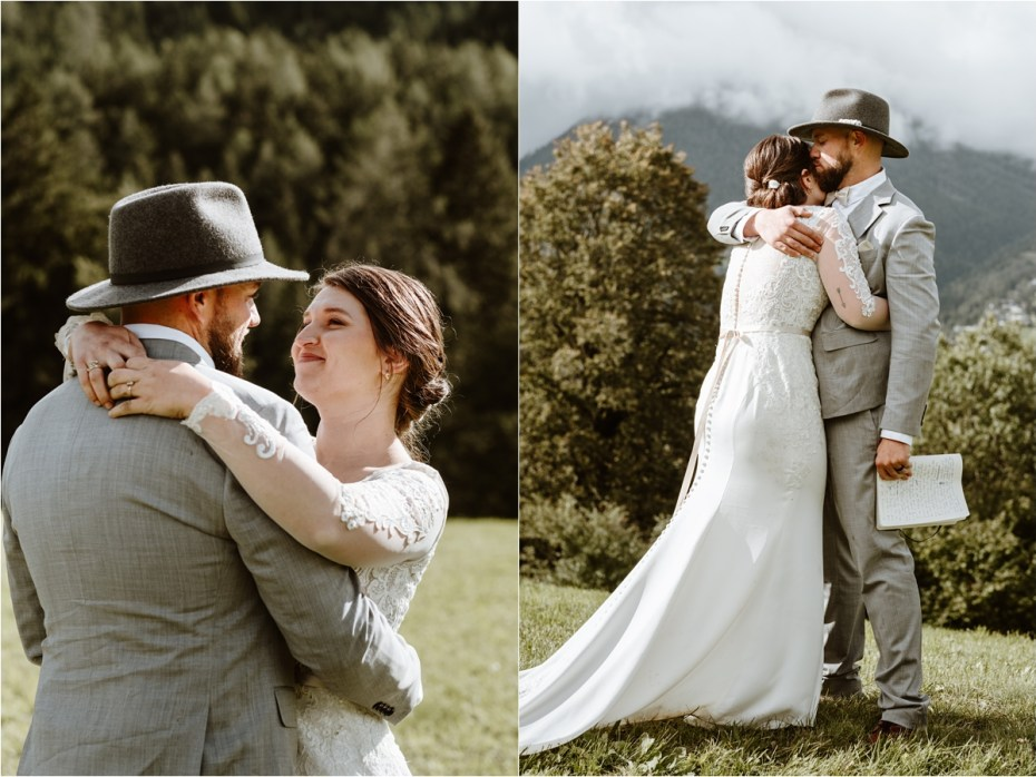 An intimate vow ceremony in Innsbruck Austria. Photos by Wild Connections Photography