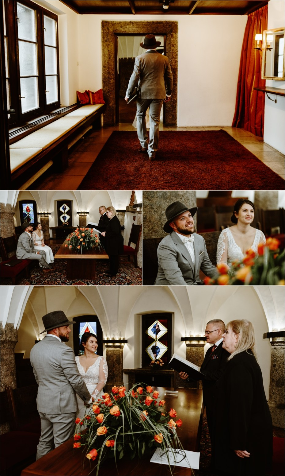 Elopement civil ceremony at Innsbruck registry office. Photos by Wild Connections Photography