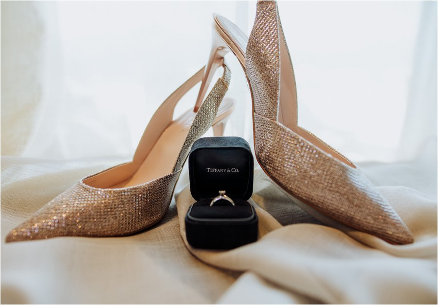 A Tiffany & Co engagement ring and Kurt Geiger shoes for bride Kelly by Wild Connections Photography