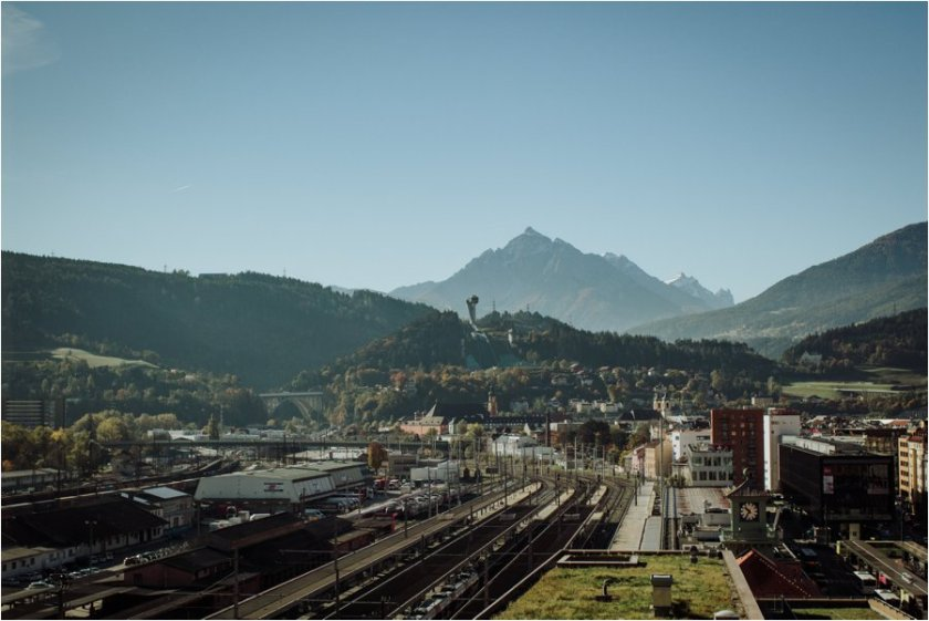 A view across Innsbruck from Adlers Hotel in Innsbruck by Wild Connections Photography
