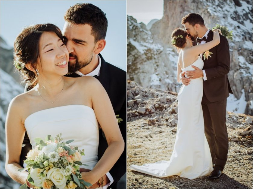 Bride and groom Arik and Kelly embrace with a stunning mountain panorama of Innsbruck behind them by Wild Connections Photography