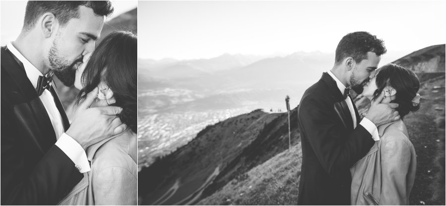 Kelly and Arik share a kiss on the Seegrube on the mountain above Innsbruck by Wild Connections Photography
