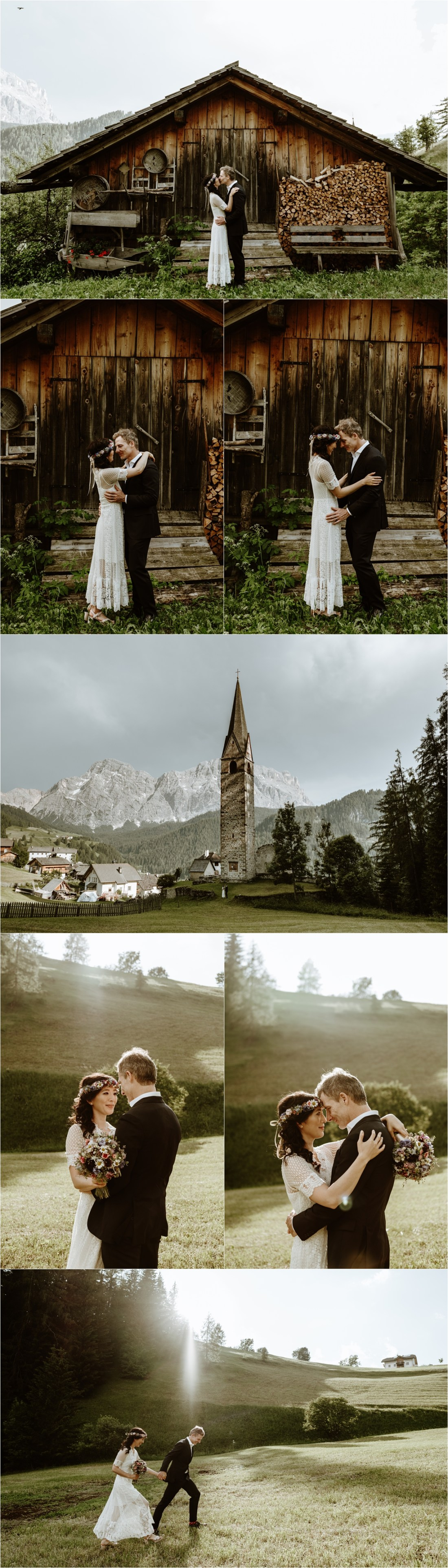 Bride and groom pictures in the Dolomites mountains. Photo by Wild Connections Photography