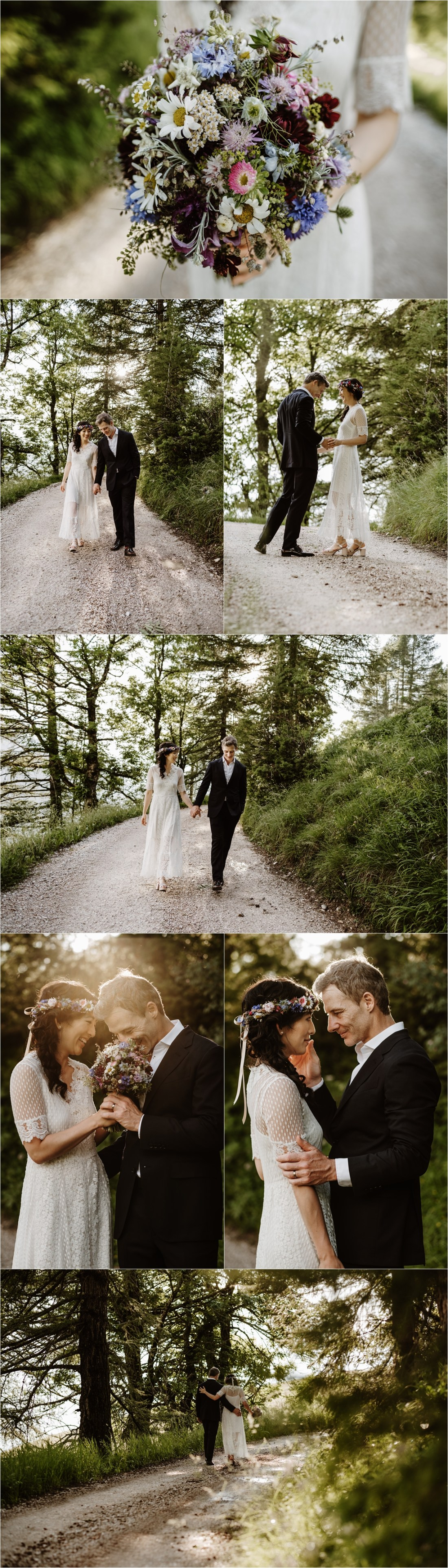 The bride and groom walk along a mountain path in the Dolomites. Photo by Wild Connections Photography