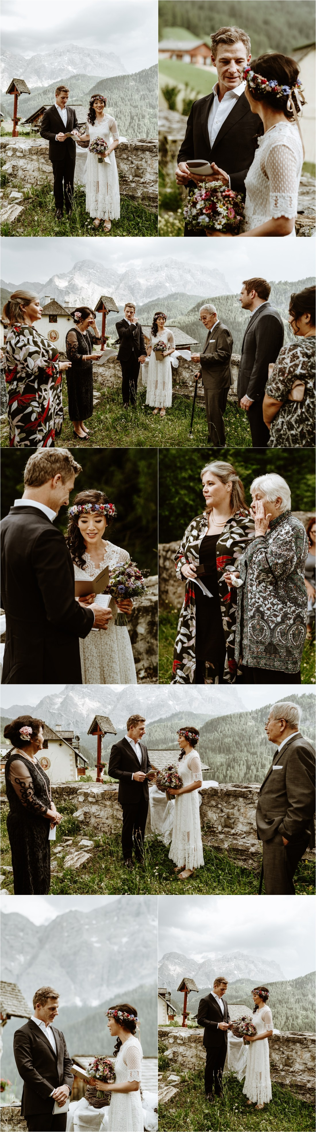 The families of the couples read poems for their intimate wedding ceremony in the Dolomites. Photo by Wild Connections Photography