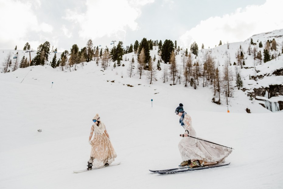 LGBTQ+ ski & snowboard wedding in the Austrian Alps by Wild Connections Photography