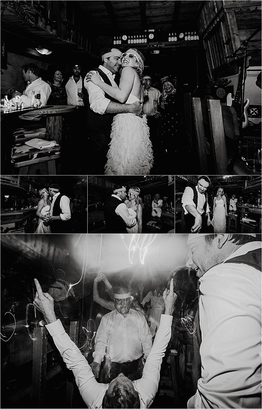 The bride and groom dance their first dance at the apres ski themed wedding reception in Austria by Wild Connections Photography
