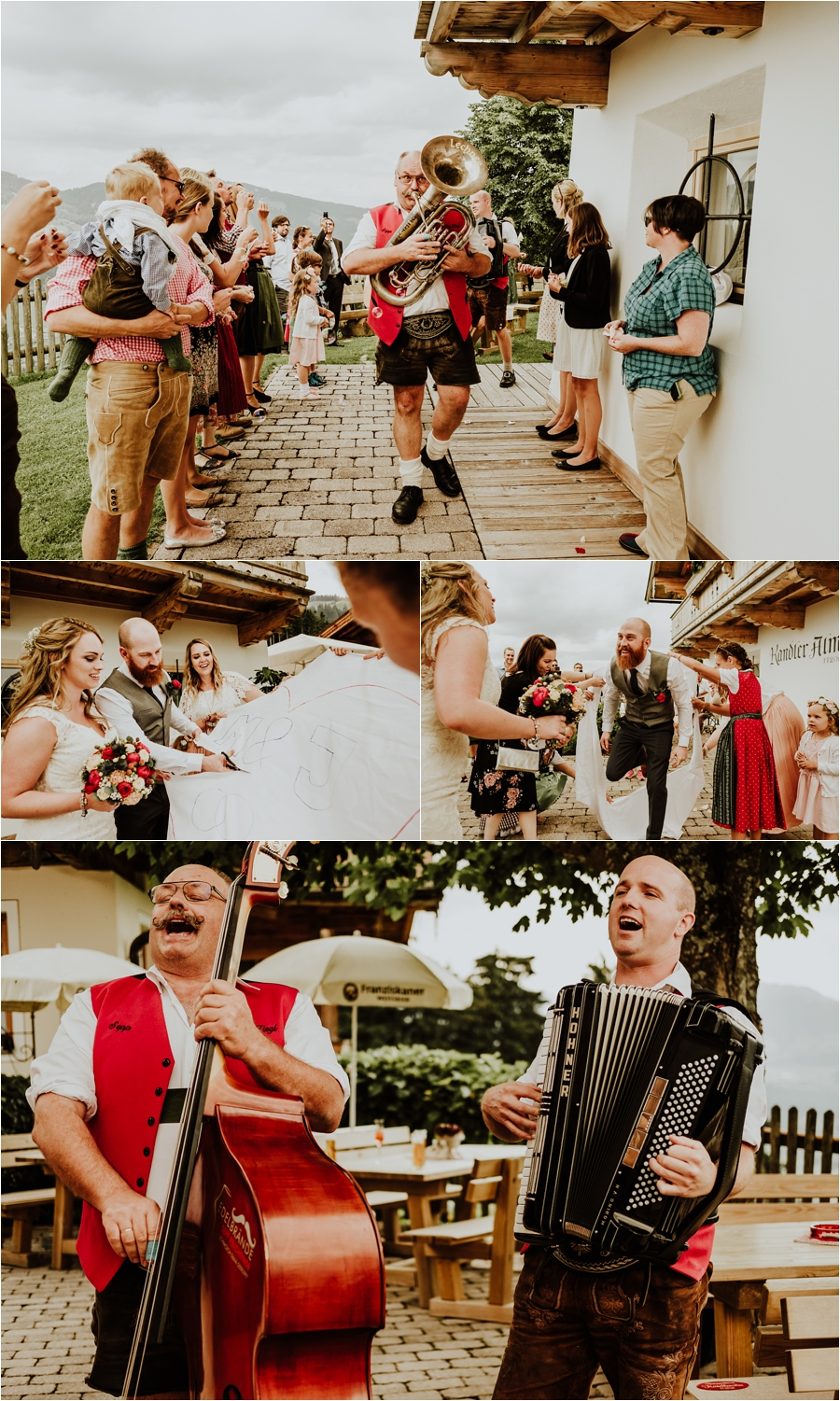 Traditional austrian wedding band for a destination wedding at the Kandleralm by Wild Connections Photography
