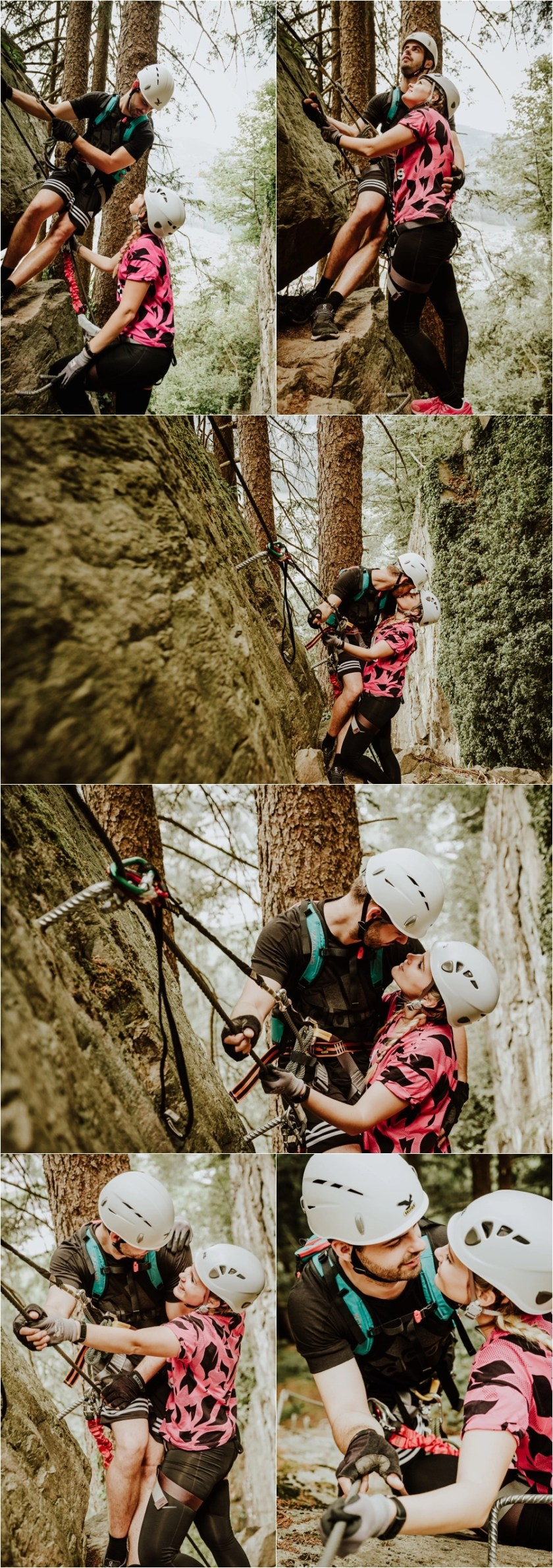Climbing engagement shoot on a via ferrata by Wild Connections Photography