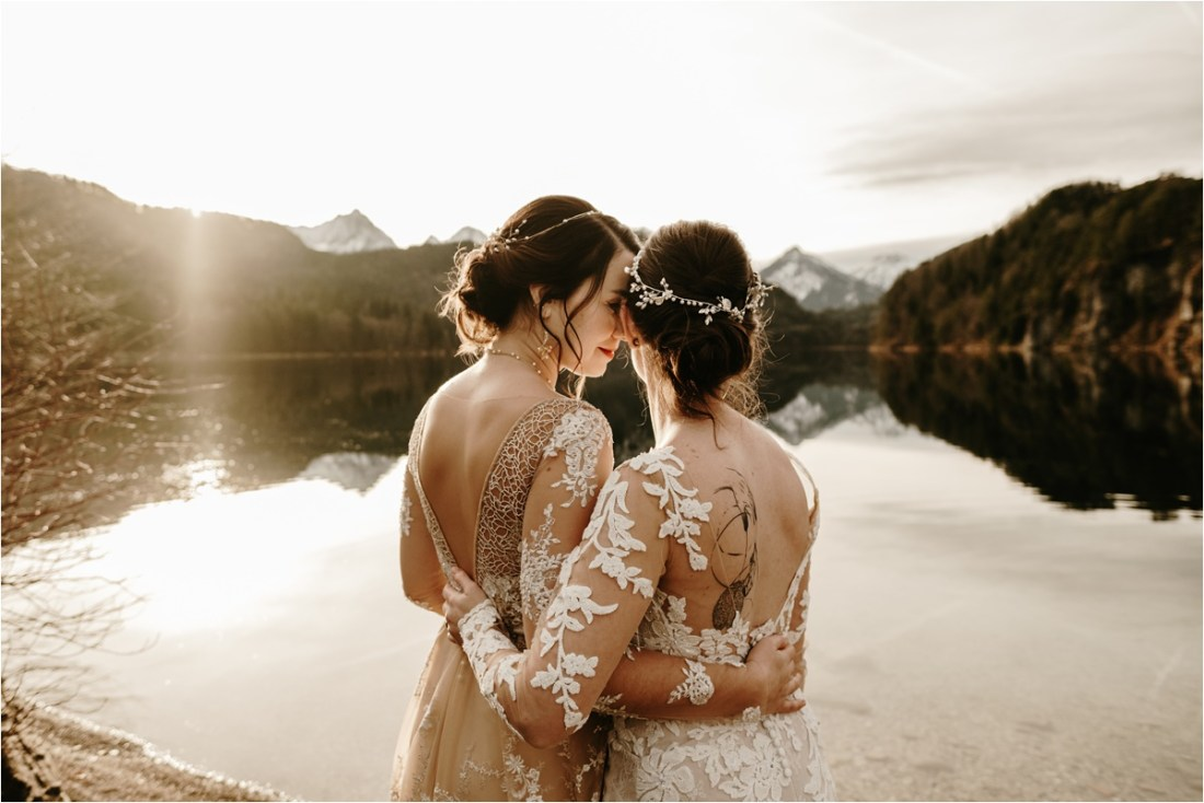 Two brides elopement wedding in the Bavarian Alps. Photo by Wild Connections Photography