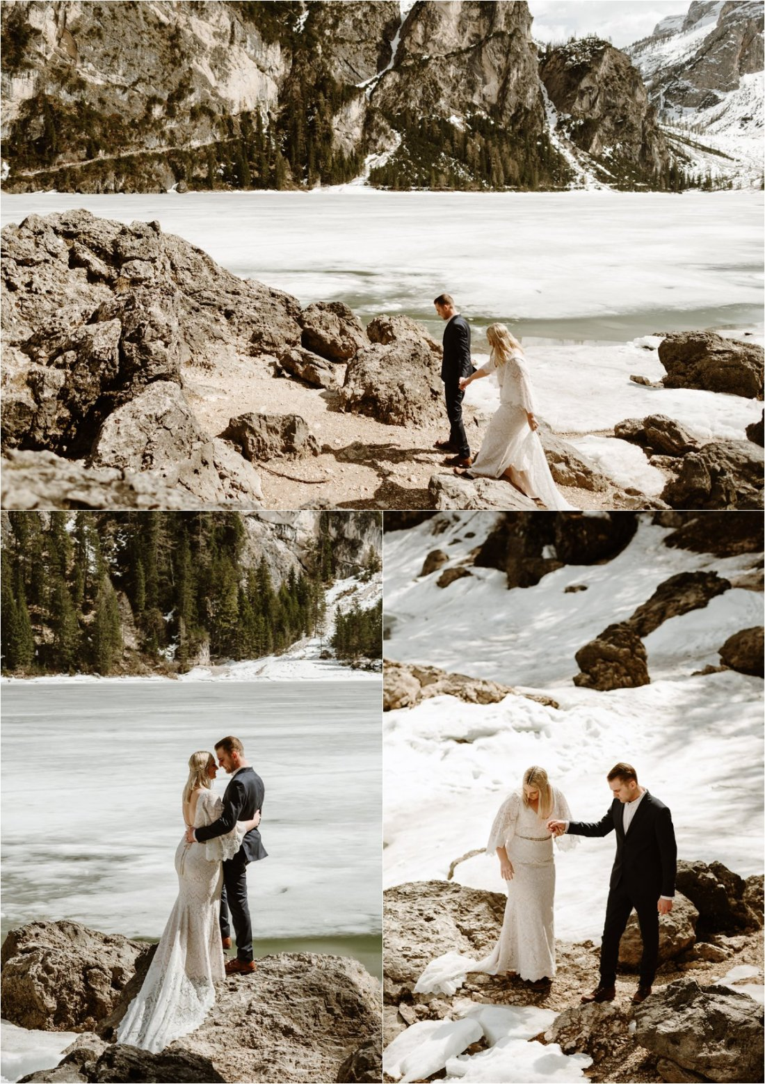 Erika & Nathan explore the shores of Lago di Braies in the Italian Alps for their elopement in the Dolomites. Photos by Wild Connections Photography