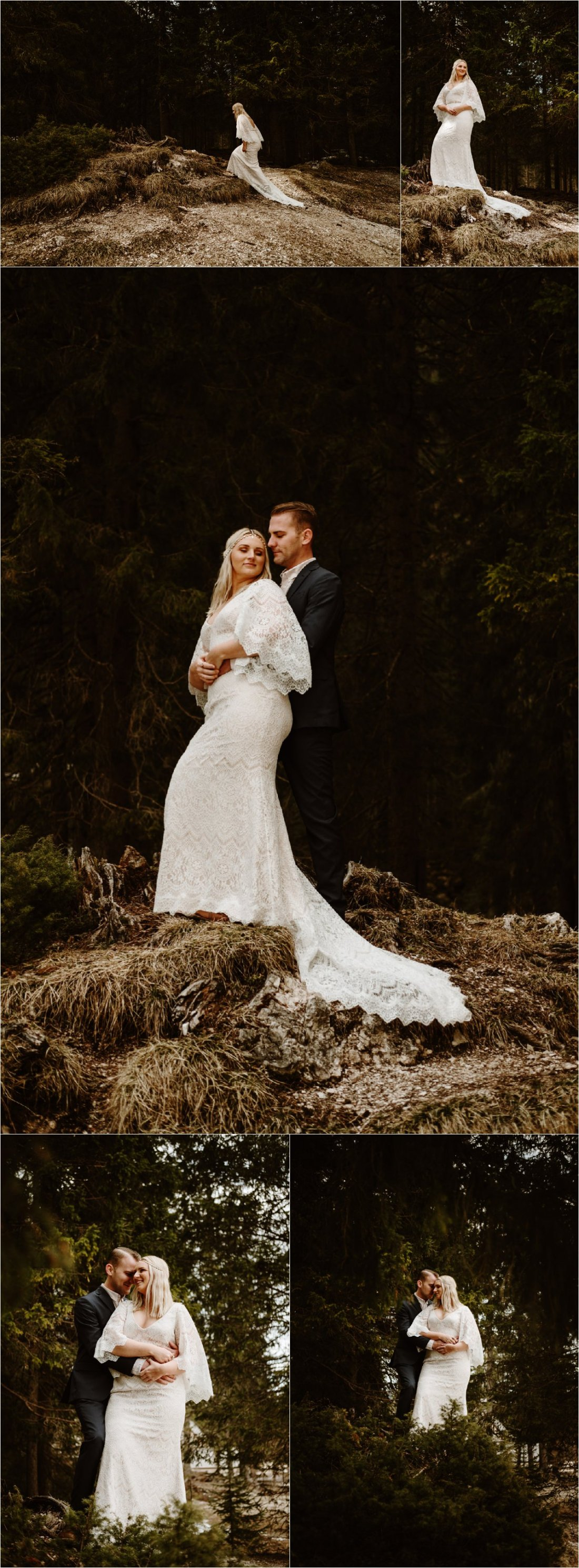 Erika looks like a Game of Thrones bride in her stunning Bohemian vintage lace wedding dress. Photos by Wild Connections Photography