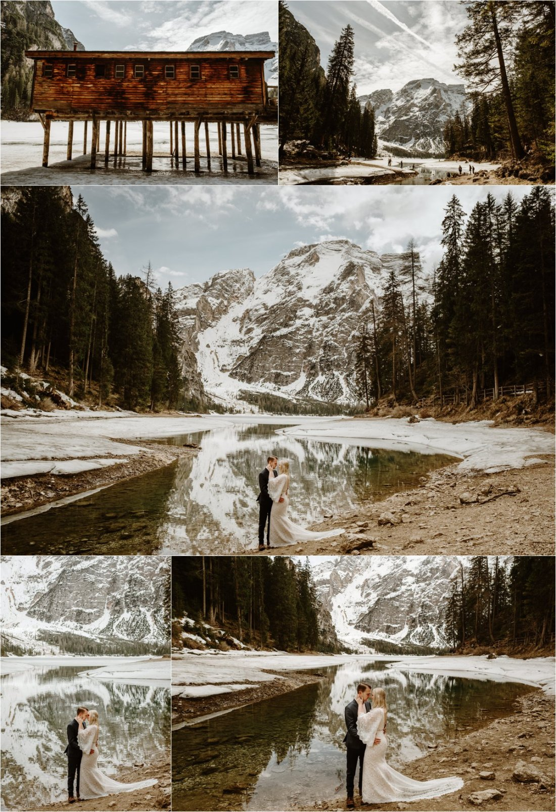 A small part of Lago di Braies lake in the Dolomites unfreezes after a long winter. Erika & Nathan enjoy the reflections of the mountains in the water on the day of their elopement in the Italian Alps. Photos by Wild Connections Photography - Alps & Dolomites Elopement Photographer