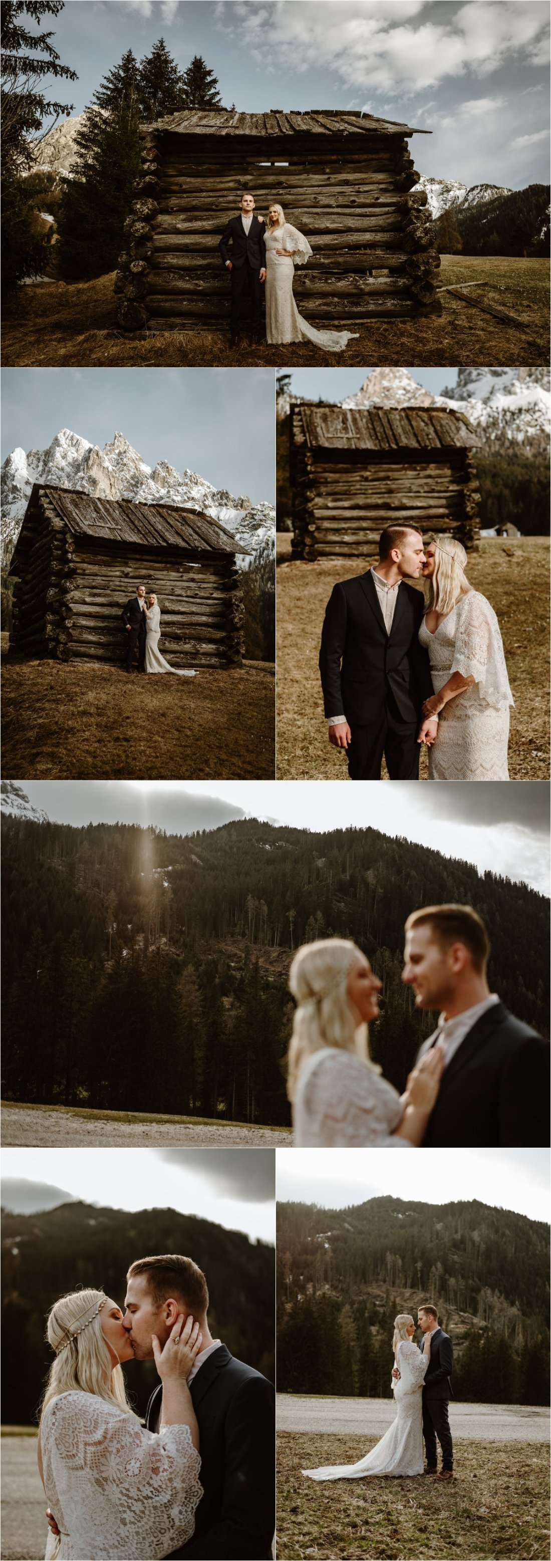 An old wooden farmers hut in the Italian Alps. Erika & Nathan spend their elopement day exploring in the Dolomites. Photos by Wild Connections Photography - Alps & Dolomites Elopement Photographer