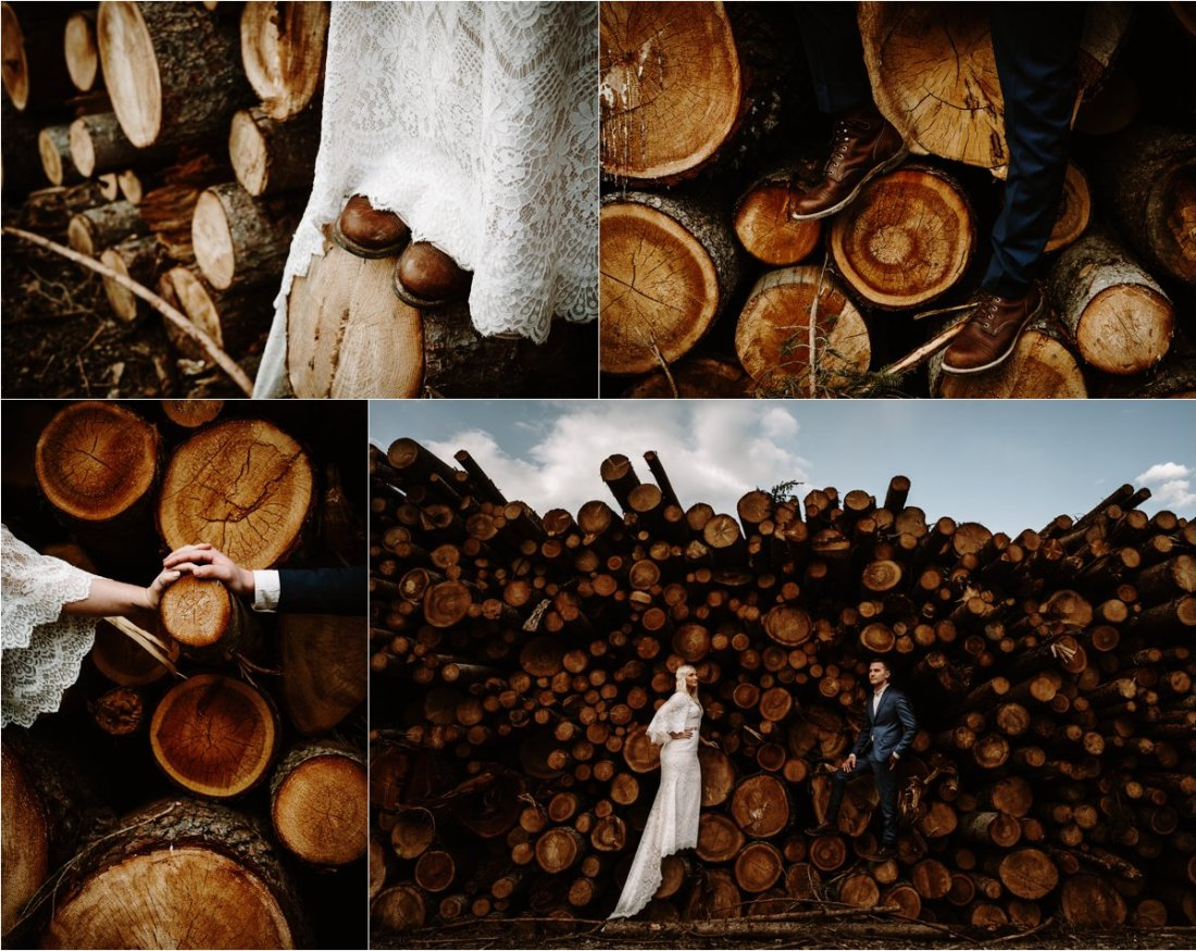 Erika & Nathan explore around the Dolomites on their wedding day and find a pile of logs. Photos by Wild Connections Photography - Alps & Dolomites Elopement Photographer