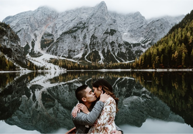 Uber romantic proposal at Lago di Braies in the Dolomites