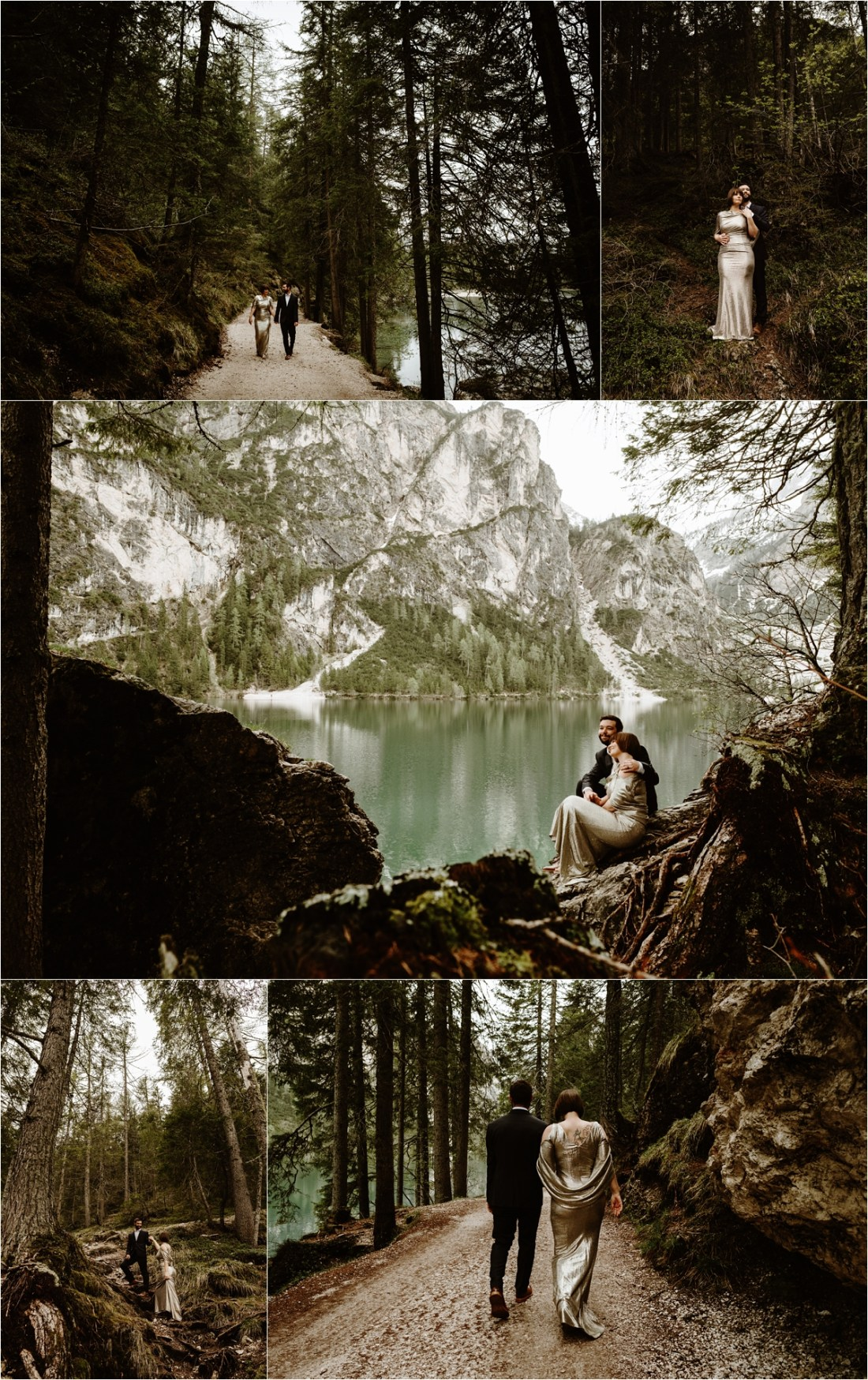 Hiking around Lake Braies in the Italian Alps, Laurel & Dustin explore the forests around the lake for their post-wedding adventure session. Photo by Wild Connections Photography