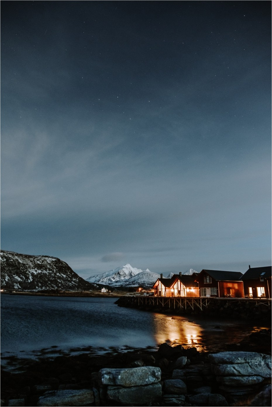 Wooden cabins during the polar night in Lofoten Norway. Photos by Wild Connections Photography