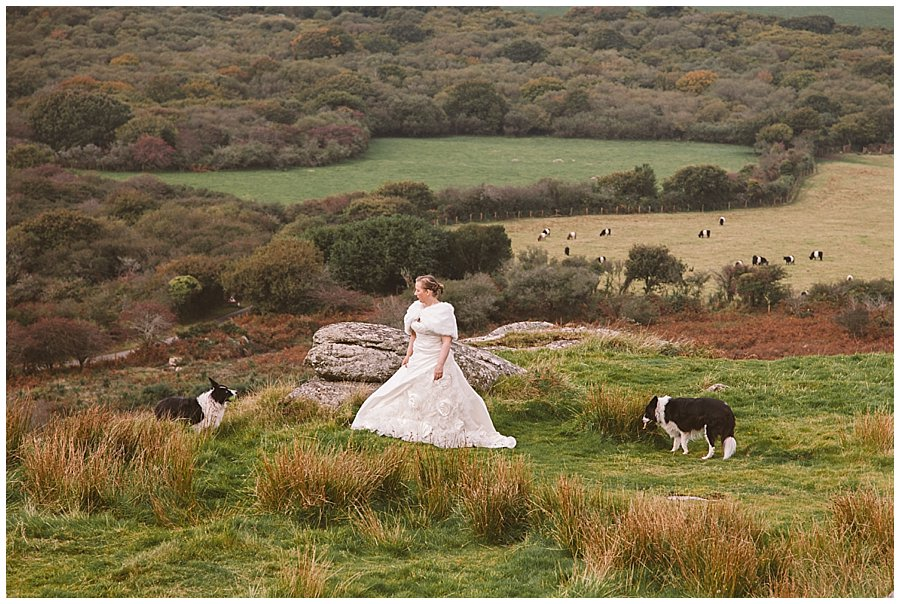 Wedding with Rescue Dogs - Bride on mountain with two of her rescue dogs by Wild Connections Photography