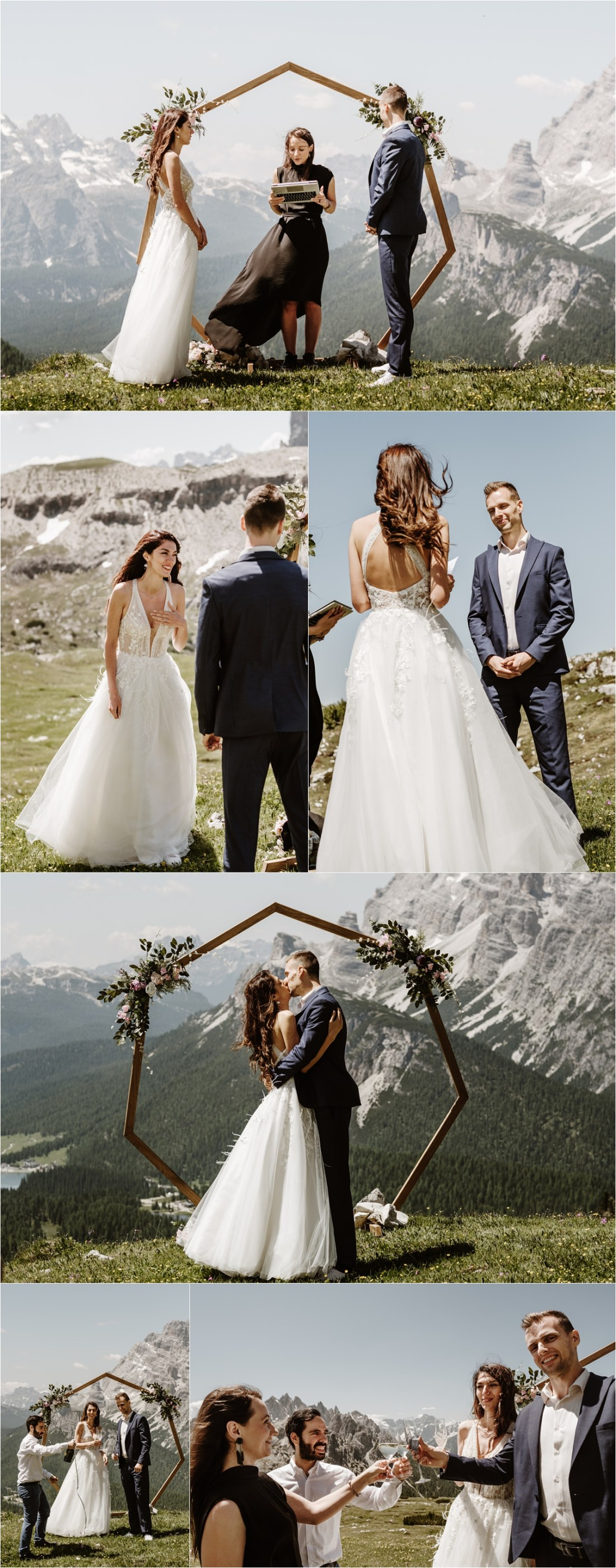 Petya & Tihomir's Tre Cime elopement ceremony with a wooden geometric ceremony arch. Photography by Wild Connections Photography