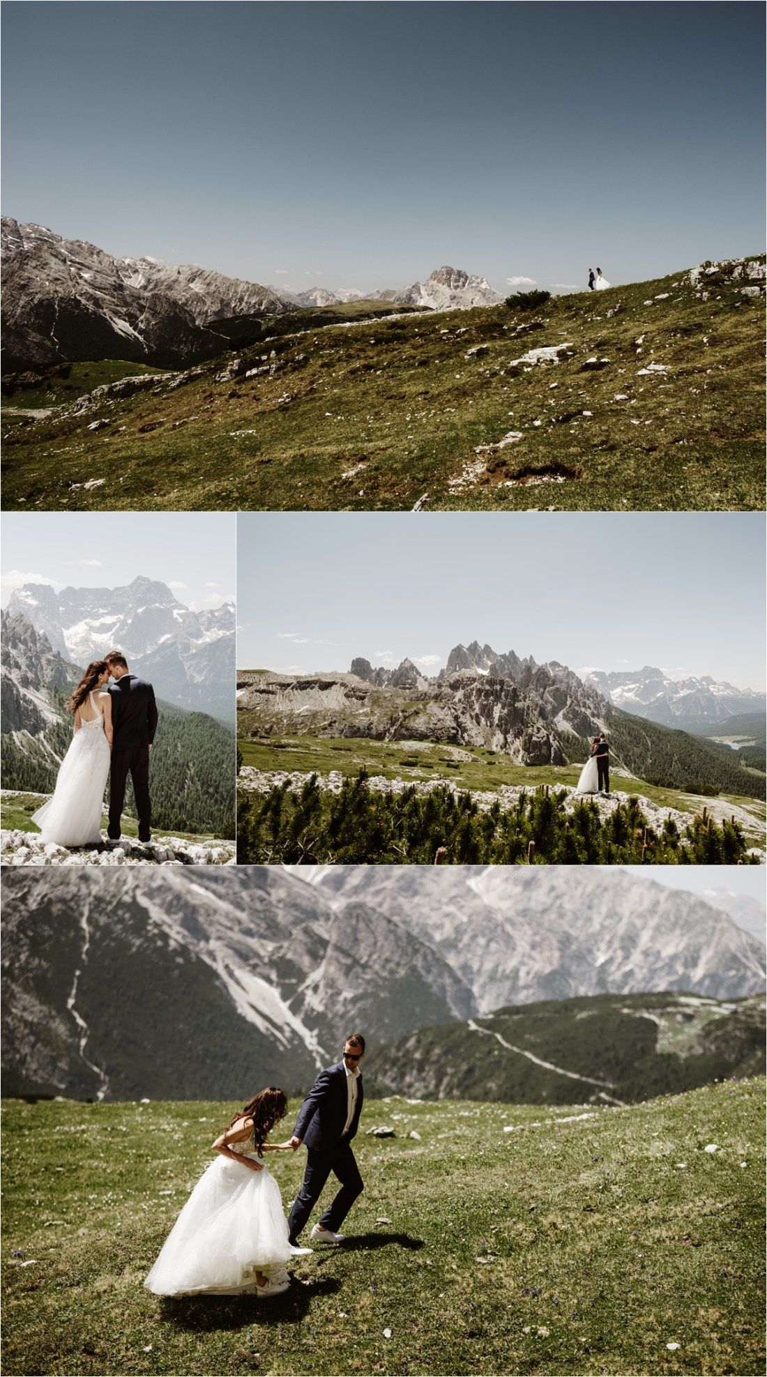 Elopement photos at the Tre Cime in the Dolomites. Photography by Wild Connections Photography