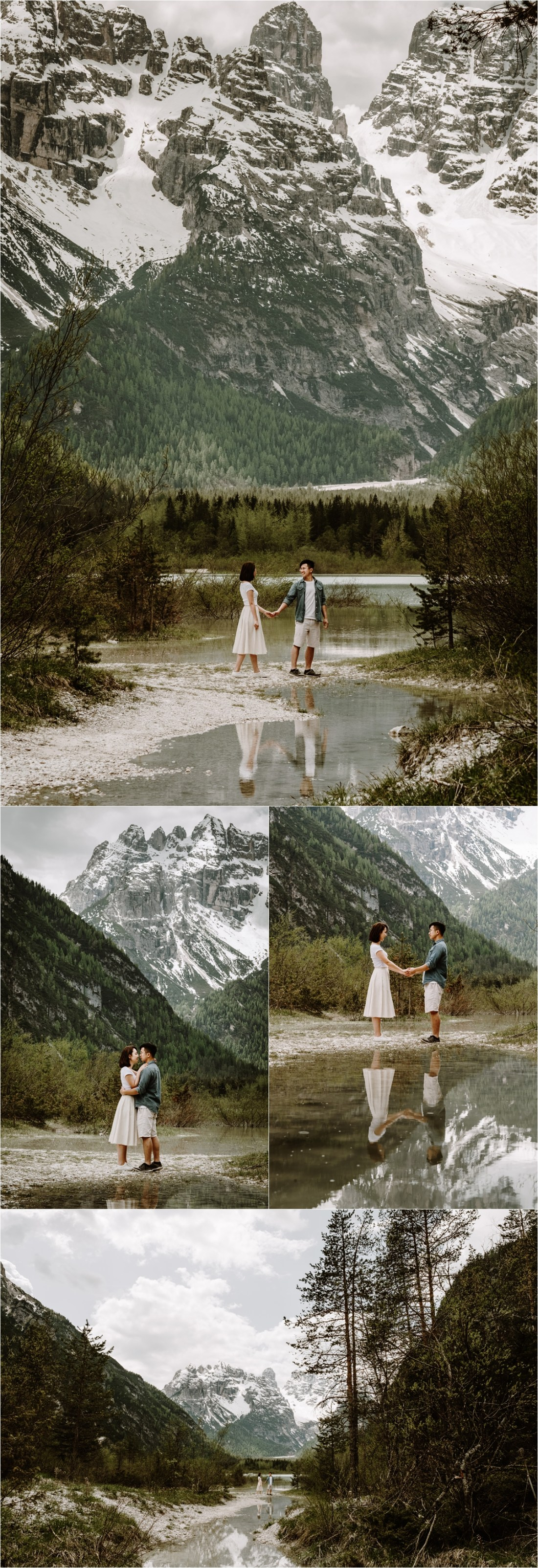 The couple are reflected in the water of this mountain lake in the Dolomites. Photo by Wild Connections Photography Dolomites Wedding Photographer