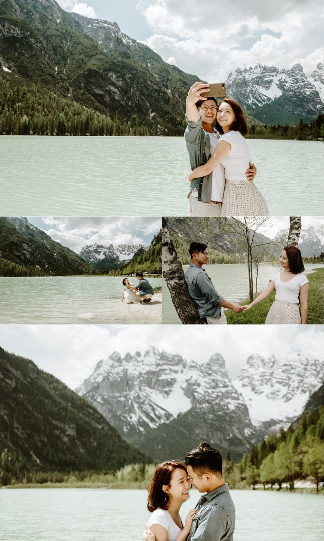 A turquise blue mountain lake in the Italian Alps. Photo by Wild Connections Photography Dolomites Wedding Photographer