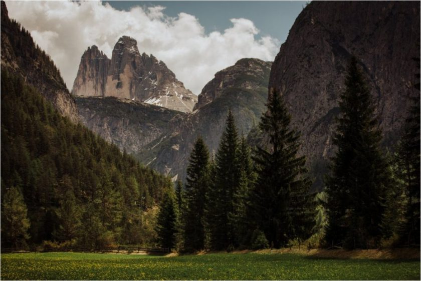 View of the Tre Cime peaks in the Dolomites in Italy