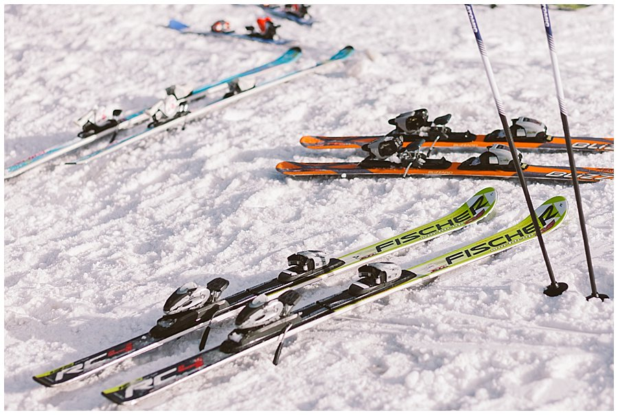 Skis lying in the snow